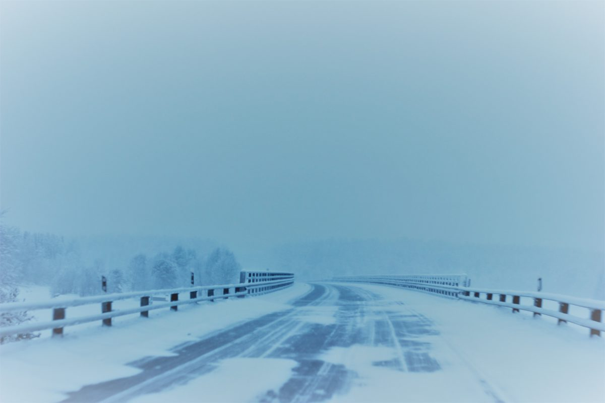 snow covered road, winter